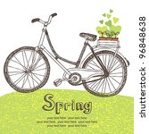 vintage bicycle with spring... | Shutterstock .eps vector #96848638