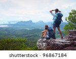 backpackers on top of a...   Shutterstock . vector #96867184