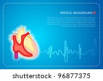 illustration of lifeline coming out of heart on graph background - stock vector
