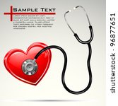 illustration of stethoscope on heart on abstract background - stock vector