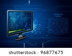 illustration of modern television with technical screen on futuristic background - stock vector