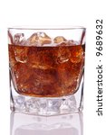 Glass of Cola with Ice isolated over white with reflection - stock photo