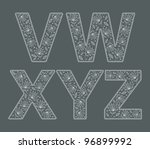 abc. vector set of lace fonts | Shutterstock .eps vector #96899992