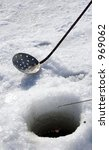 tools of ice fishing   focus on ... | Shutterstock . vector #969062