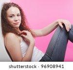 sporty woman posing in pink... | Shutterstock . vector #96908941