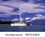 Catamaran Sits Quietly In A...