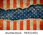 grunge ripped paper usa flag... | Shutterstock . vector #96921401