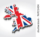 3d flag map of the uk  united... | Shutterstock .eps vector #96921404