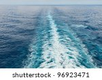 Wake from a cruise ship in the Caribbean - stock photo