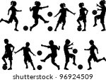soccer players silhouettes of... | Shutterstock .eps vector #96924509