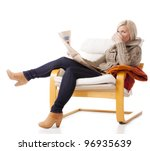 young  casual woman sitting in... | Shutterstock . vector #96935639