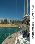 At anchor in Motuihe island - stock photo