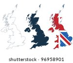 great britain map in line ... | Shutterstock .eps vector #96958901