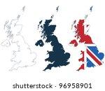 great britain map in line ... | Shutterstock .eps vector #96958901