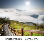 dramatic clouds with mountain... | Shutterstock . vector #96963497
