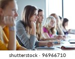 students in class  color toned... | Shutterstock . vector #96966710