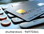 black credit card on a... | Shutterstock . vector #96970361