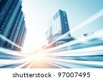 the light trails on the modern... | Shutterstock . vector #97007495