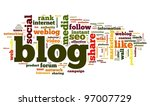 blog concept in word tag cloud... | Shutterstock . vector #97007729