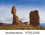 The famous Balanced Rock in Arches National Park, Utah. - stock photo