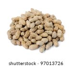 Peanuts isolated on white background, selective focus. - stock photo