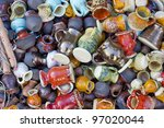 background from small ceramic... | Shutterstock . vector #97020044