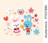 bunnies in love - stock photo