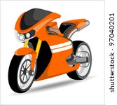 A vector illustration of a orange sports motor bike on white background.