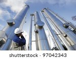 engineer  worker  pointing at... | Shutterstock . vector #97042343