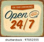 vintage metal sign   open 24 7  ... | Shutterstock .eps vector #97052555