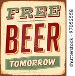vintage metal sign   free beer... | Shutterstock . vector #97052558