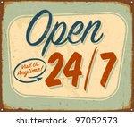 vintage metal sign   open 24 7  ... | Shutterstock .eps vector #97052573