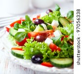 mediterranean style salad with... | Shutterstock . vector #97056338