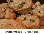 Fresh Delicious Chocolate Chip Muffins Stacked And Close Up - stock photo