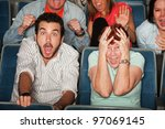 group of frightened people in a ... | Shutterstock . vector #97069145