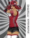 sexy roller derby sports girl... | Shutterstock .eps vector #97069940