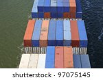 container on a cargo ship - stock photo