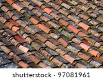 Pattern of old Italian roof tails. Tuscany. Italy. - stock photo