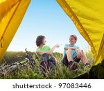 two cyclists relax biking... | Shutterstock . vector #97083446