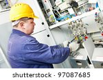 one electrician builder at work ... | Shutterstock . vector #97087685