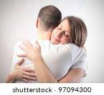 smiling woman hugging her... | Shutterstock . vector #97094300