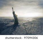 Statue of Liberty on apocalyptic background