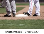 baseball players at 1st base on ... | Shutterstock . vector #97097327