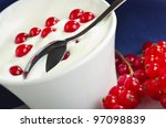 bowl with fresh yoghurt and... | Shutterstock . vector #97098839
