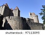 Carcassonne, the famous medieval city in Southern France. - stock photo