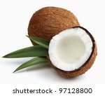 Fresh coconut. Use it for a health concept. - stock photo