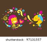 girl and boy in love - stock photo