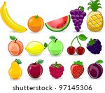 cartoon orange  banana  apples  ... | Shutterstock .eps vector #97145306