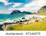 beautiful view to eggum beach... | Shutterstock . vector #97146575