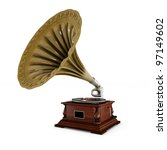 Retro Old Gramophone With Horn...